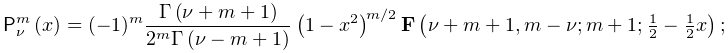 \mathop{\mathsf{P}^{{m}}_{{\nu}}\/}\nolimits\!\left(x\right)=(-1)^{m}\frac{% \mathop{\Gamma\/}\nolimits\!\left(\nu+m+1\right)}{2^{m}\mathop{\Gamma\/}% \nolimits\!\left(\nu-m+1\right)}\left(1-x^{2}\right)^{{m/2}}\mathop{\mathbf{F}% \/}\nolimits\!\left(\nu+m+1,m-\nu;m+1;\tfrac{1}{2}-\tfrac{1}{2}x\right);