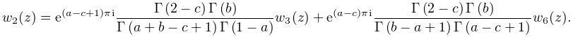 w_{2}(z)=e^{{(a-c+1)\pi i}}\frac{\mathop{\Gamma\/}\nolimits\!\left(2-c\right)% \mathop{\Gamma\/}\nolimits\!\left(b\right)}{\mathop{\Gamma\/}\nolimits\!\left(% a+b-c+1\right)\mathop{\Gamma\/}\nolimits\!\left(1-a\right)}w_{3}(z)+e^{{(a-c)% \pi i}}\frac{\mathop{\Gamma\/}\nolimits\!\left(2-c\right)\mathop{\Gamma\/}% \nolimits\!\left(b\right)}{\mathop{\Gamma\/}\nolimits\!\left(b-a+1\right)% \mathop{\Gamma\/}\nolimits\!\left(a-c+1\right)}w_{6}(z).